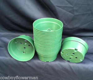 BULB-PANS-5-034-GREEN-PLASTIC-NEW-LOT-OF-20-HEAVY-DUTY-INJECTION-MOLDED-POTS