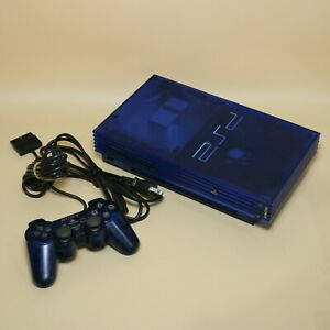 Rare-PS2-Plastation-2-Transparent-Clear-Ocean-Blue-SCPH-37000-with-Controller