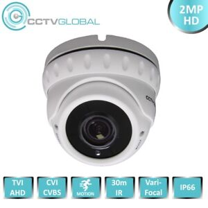 1080P WHITE HD TVI AHD CVI ANALOGUE CCTV DOME CAMERA 2.8-12mm ZOOM LENS 30m IR