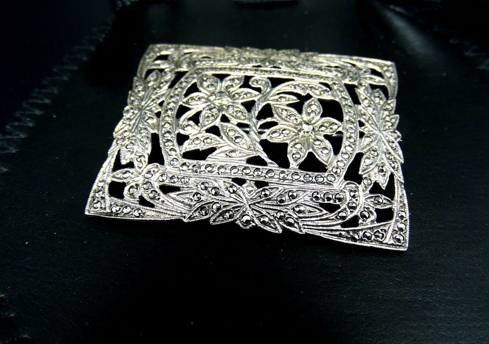 Large 2  Marcasite Brooch Flowers Pin Vintage Nice PERFECT