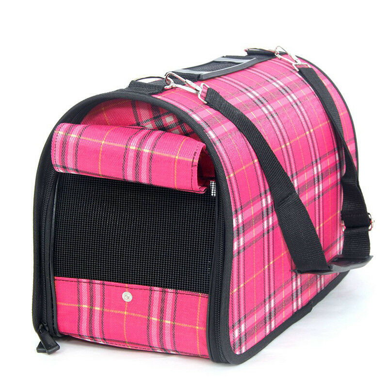 Pet Dog Cat Portable Travel Carrier Tote Cage Bag Crate Kennel   Medium Pink