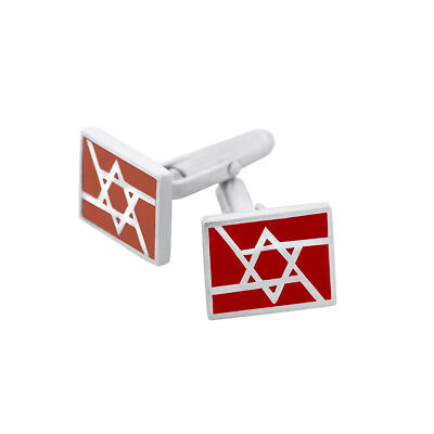 Sterling Silver Star of David Cufflinks w//Colored Stone Judaica Jewish KABBALAH
