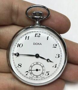 VINTAGE-DOXA-SWISS-MADE-OPEN-FACE-POCKET-WATCH-RUNNING
