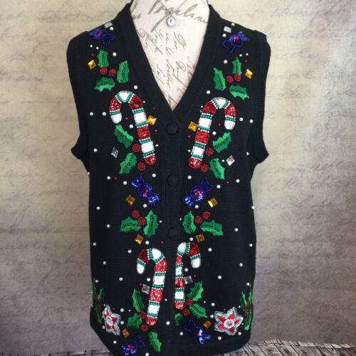 Victoria Jones Women's Christmas Sweater Vest Bead