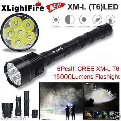 Tactical 15000LM 6 x XML T6 LED Taschenlampen Fackel Licht 5 Modes 18650 Hunting