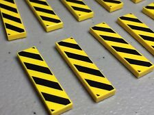 LEGO x 10 Yellow Tile 1x4 with Black and Yellow Danger Stripes Black Pattern NEW