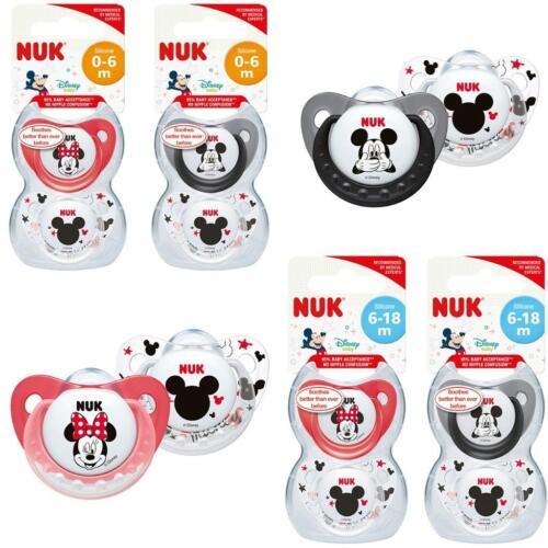NUK Disney Minnie//Mickey Soothers 0-6m//  6-18m 2Pk