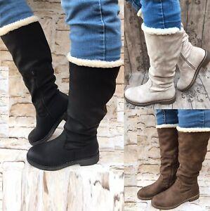 Damen-Stiefel-warm-gefuttert-Boots-Stiefeletten-Winter-Schnalle-NEU-ST818