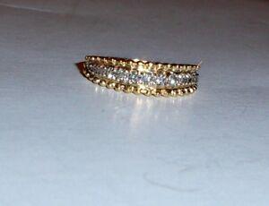 14K-Yellow-Gold-White-Diamond-Round-Fancy-Band-Ring-Size-7-0-15-TCW-2-25GR