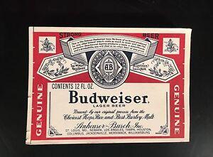 """1979/1980 seltene budweiser prototyp papier flaschenetikett - """"strong beer"""" - nie ci"""