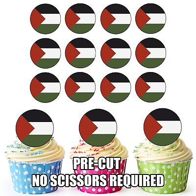 Easy Precut Circles 24 Edible Cupcake Toppers Palestine Flag Birthday Cake Decorations