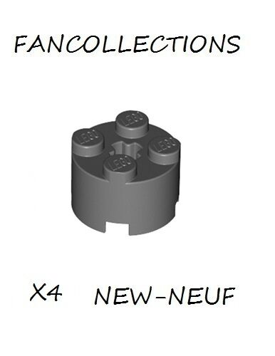 Lego x 4 - Dark Bluish Gray Brick, Round 2x2 with Axle Hole - 3941  NEUF