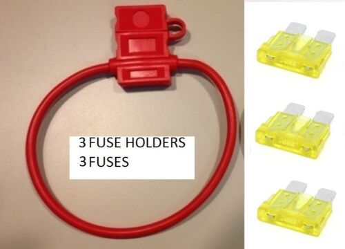USA 3 20 AMP FUSES IN-LINE 14 GA 14 GAUGE ATC FUSE HOLDER With COVER + 3