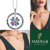 16 Rhodium Plated Necklace W/ Round Clover & Multi-colored Crystals By Matashi on sale