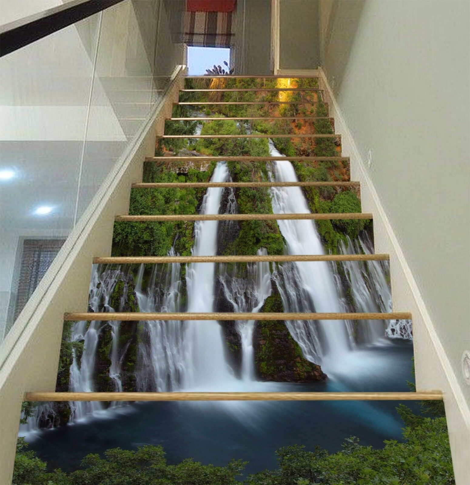 3D Waterfall View 748 Risers Decoration Photo Mural Vinyl Decal Wallpaper CA