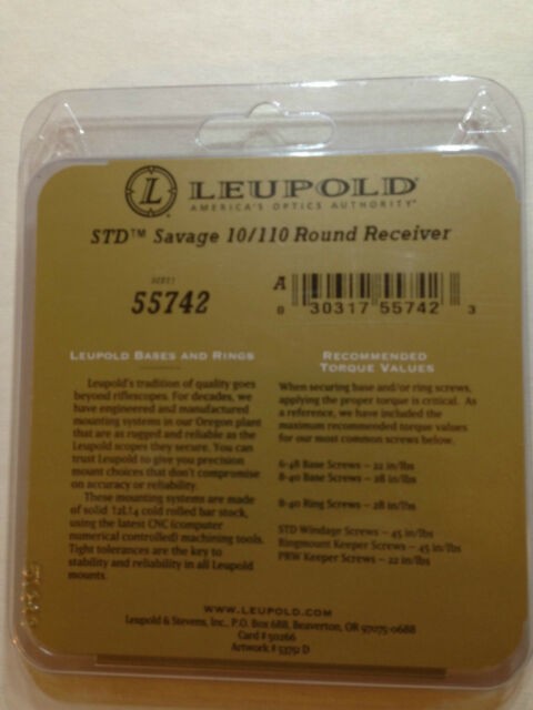 Leupold Standard 2pc Base Savage 10//110 Round Reverse Rear 55742 Matte for sale online