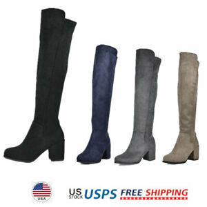 Womens Suede Pull On Over The Knee Chunky Heel Thigh High Multi-wear Party Boots