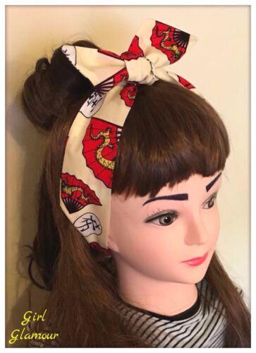 Hair Tie Hairband Headband Bandana Gold Dragon Chinese Fabric Kanji New Year