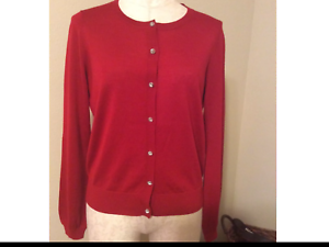 ANN TAYLOR Factory Red Crystal Button Cardigan Sweater, NWT, MEd. Orig 65