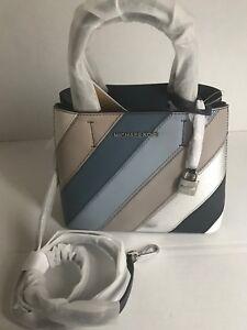 Michael Kors Adele Leather Satchel MD Messenger Bag Navy Denim