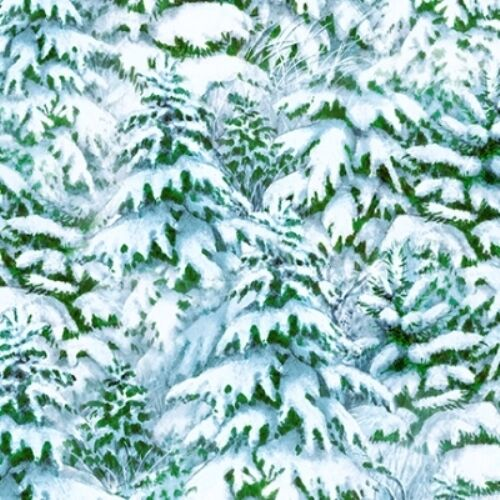 QUIET BUNNY & NOISY PUPPY SNOWY TREES FOREST LANDSCAPE FABRIC