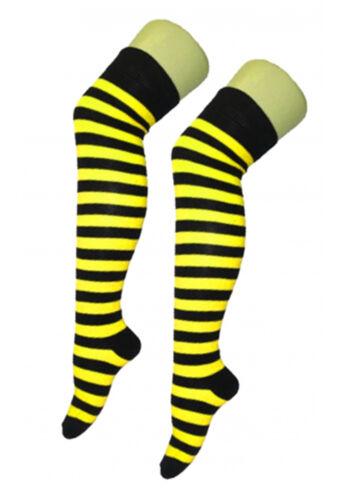 Womens Over The Knee Socks Plain /& Stripe Thigh High Adults Stretchy OTK Socks