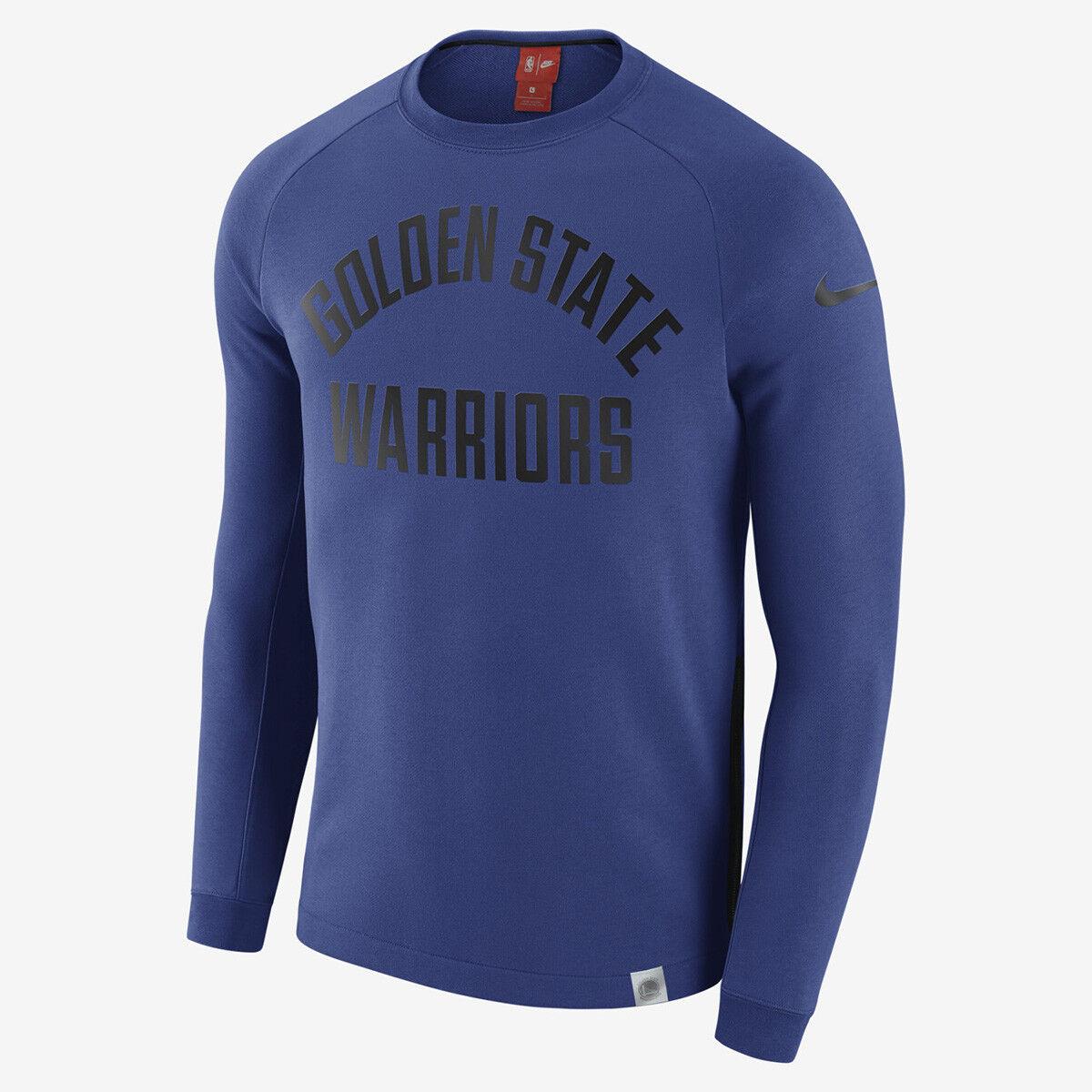 Nike NBA Golden State Warriors Moderne Langärmlig Rundhalsausschnitt Blau