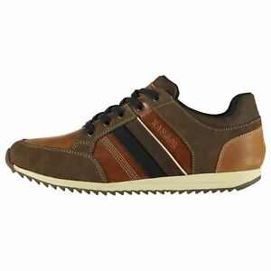 Kangol-Morden-Cuir-Baskets-Homme-Gents-Everyday-Chaussures-Lacets-fixe-Rembourre