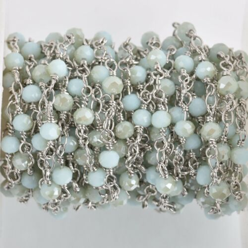 13ft Blue /& Tan Crystal Rondelle Rosary Chain silver double 4mm fch0764b