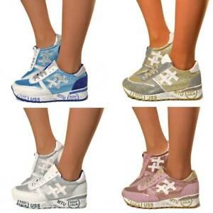 f3c54dc16331d3 Das Bild wird geladen Damen-Sneaker-Keilabsatz-Platform-Suede-Leder -Schuhe-Schriebe-