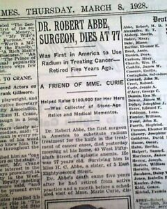 ROBERT-ABBE-Surgeon-Pioneer-Radiologist-Bar-Harbor-Maine-DEATH-1928-Newspaper