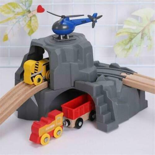 Kids Plastic Grey Double Tunnel Wooden Train Track Accessories For Tunnel Train