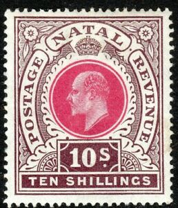 South-Africa-Natal-1902-rose-chocolate-10-crown-CC-mint-SG141