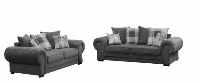 Chesterfield Style Verona Sofa Set 3 2 Seater Fabric Dark Grey
