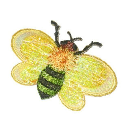 Choice of 2 designs x 2 pieces Bumble Bee Iron Appliques