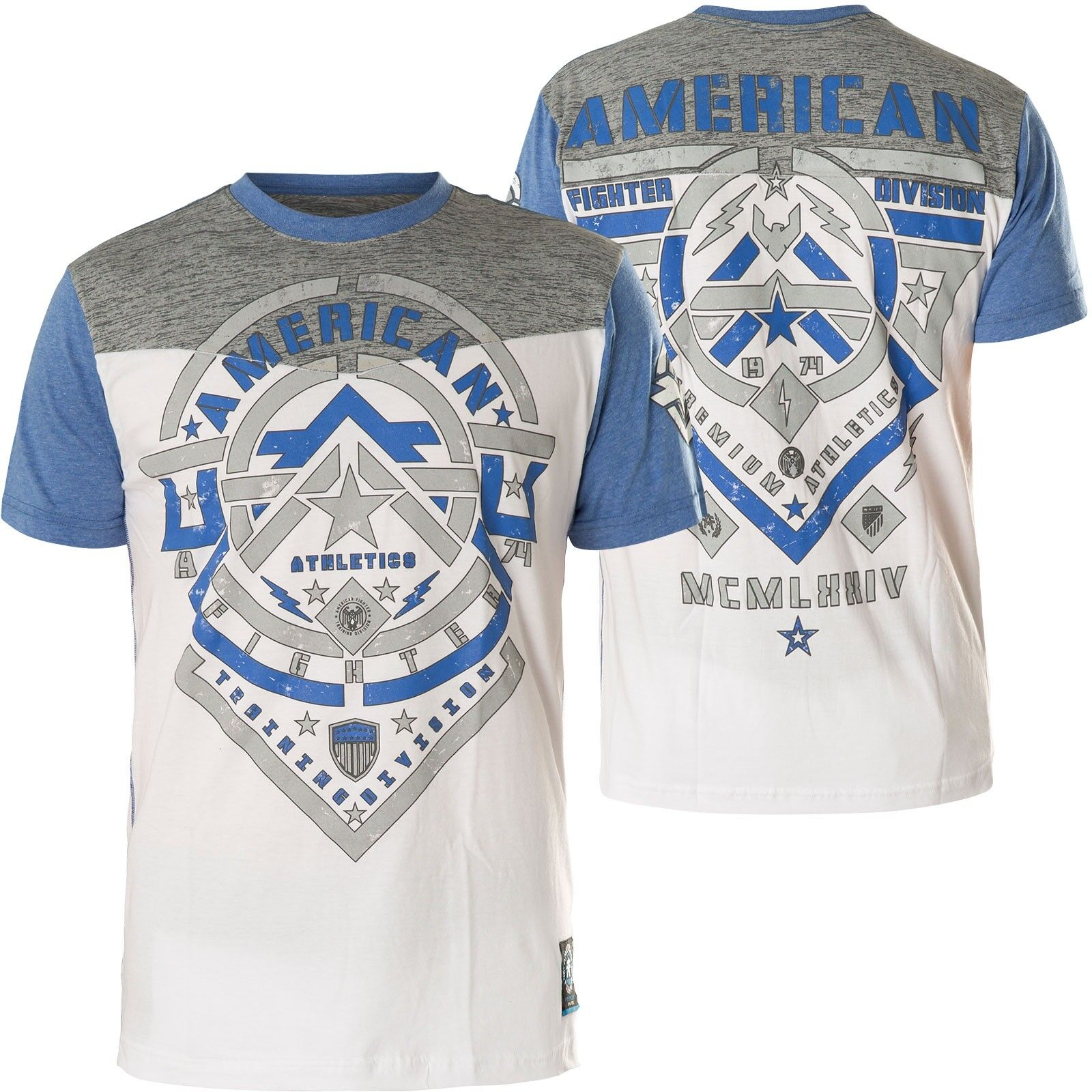 American Fighter Affliction T-shirt Darnell Bianco Grigio Blu T-shirts