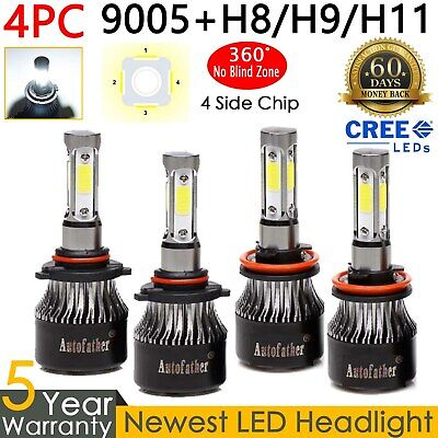4x 9005 H11 3830W 540000LM Combo CREE LED Headlight Bulb Kit  Hi-Low Beam 6000K