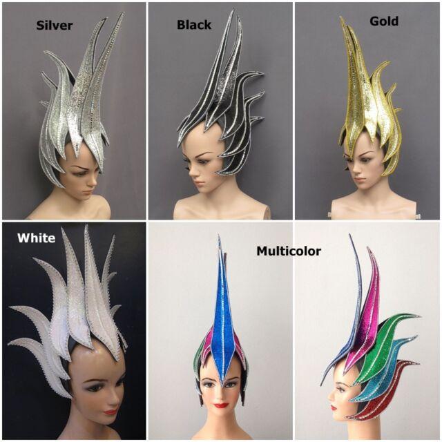 Pointy Head Hair Futuristic Mirror Headdress Costume Showgirl Cabaret Dance