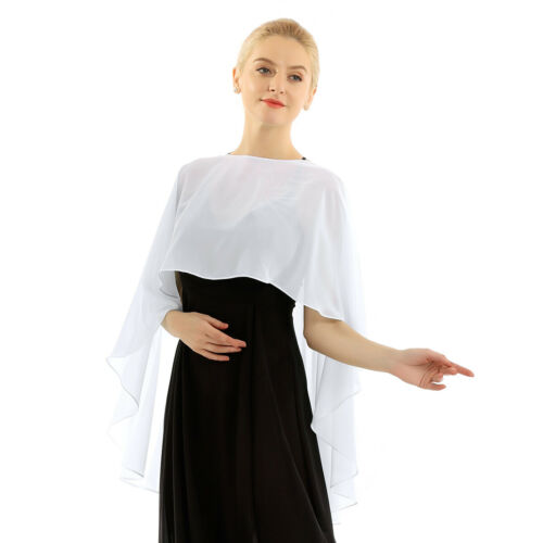 Women Chiffon Bridal Wrap Wedding Shawl Cape Jacket Bolero Shrug for Dresses US