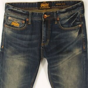 Slim L34 Blue Superdry Straight Stretch Jeans Corporal W32 Mens xnE8Hn