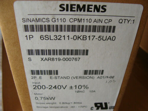 NEW SIEMENS 6SL3211-OKB17-5UAO Variable Frequency  DRIVE  200-240V .75KW