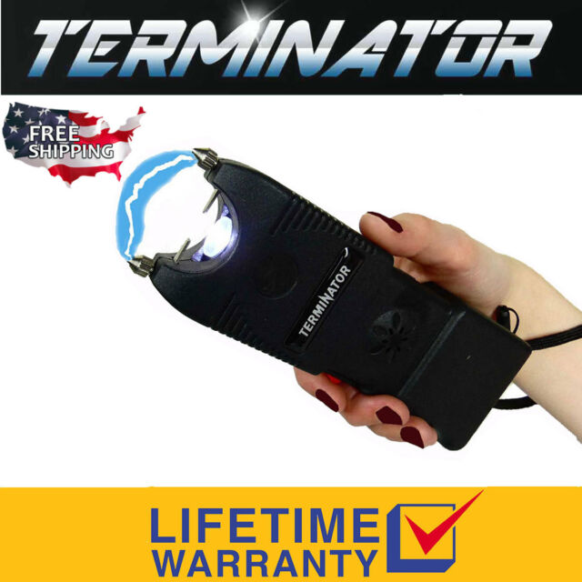 Terminator Max Power Police Stun Gun Ear-piercing Siren Blinding Flashlight