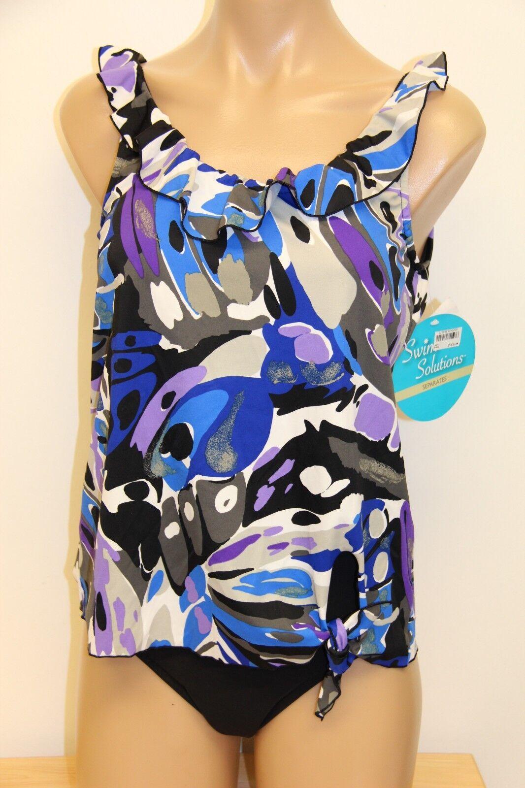 NWT Swim Solutions Swimsuit  Bikini Tankini 2 pc set Size 6 8  Papillon