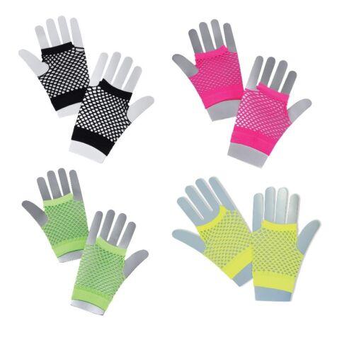 Short Fishnet Gloves One Size Adult Neon Pink Yellow Green Black Fancy Dress