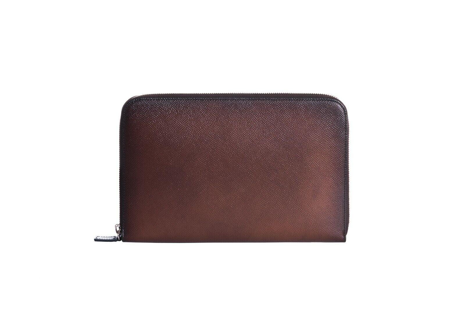 ARALDI MILANO 1930 Brown Tamponato Leder Clutch Tasche Reise Etui Handtasche