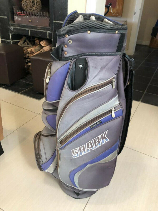 Shark Golf bag with rain cover - lots of storage pockets