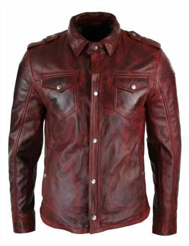 Chemise homme Veste rouge Mahroon Chemise en cuir véritable ciré véritable doux
