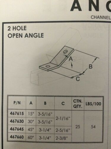 #467645 P1546 2-Hole 45° Open Corner Angle for Unistrut //B-Line Channel 4//Box