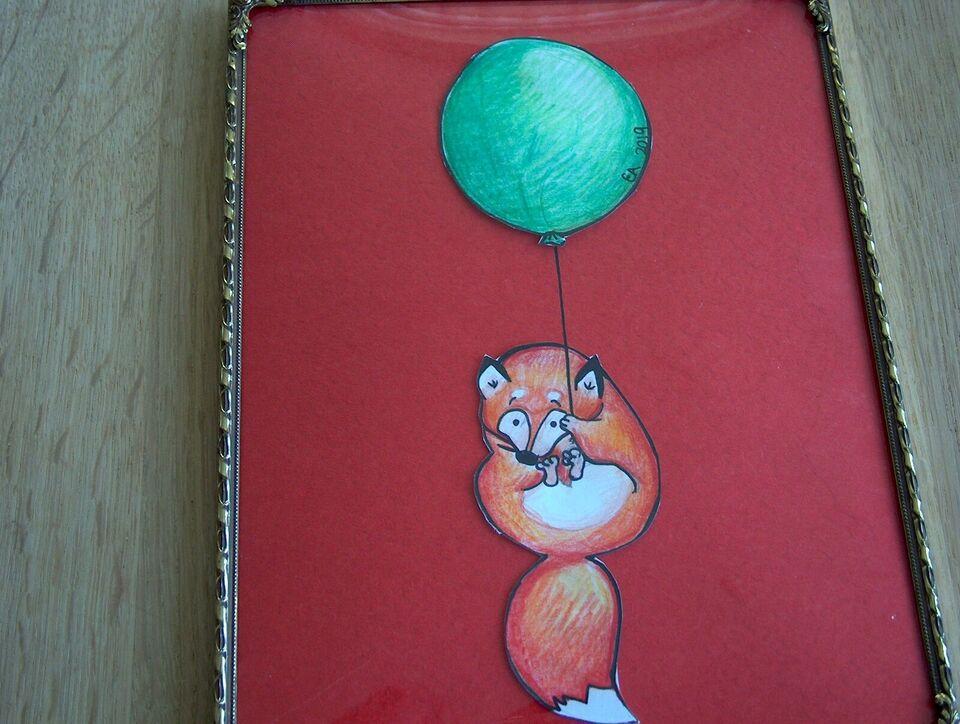 Vægdekoration, tegning i ramme, dovendyr med ballon