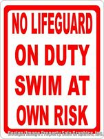 No Lifeguard On Duty Swim At Own Risk Sign. Size Options. Swimmers Water Safety